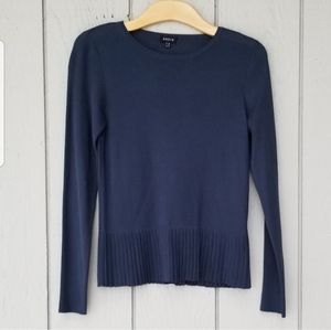 Akris | Navy Pleated Blouse